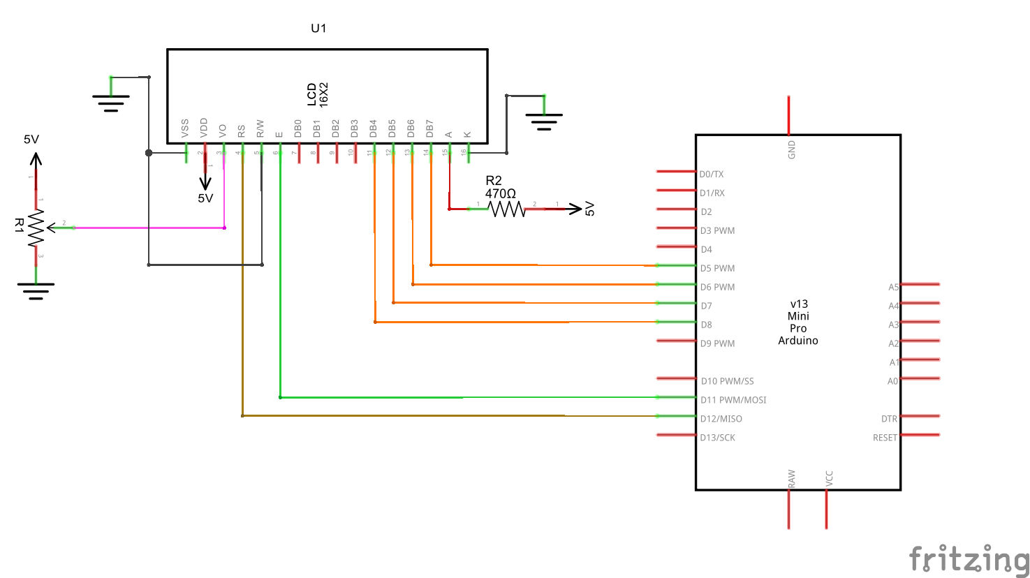 Below is the schematic. LCD 16x2